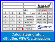 dBCalc Calculateur gratuit  dB, dBm, VSWR, atténuations...