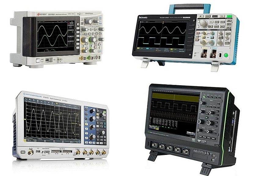 Oscilloscopes 1000 X-Series de Keysight, TBS2000 de Tektronix, R&S RTB2000 de Rohde & Schwarz et HDO4000 de Teledyne Lecroy