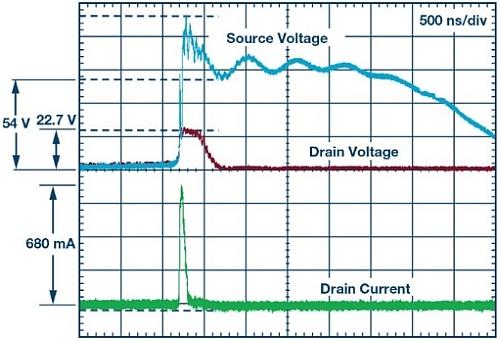 Tension de drain et courant de sortie au drain en cas de décharge dans l'air de 16kV