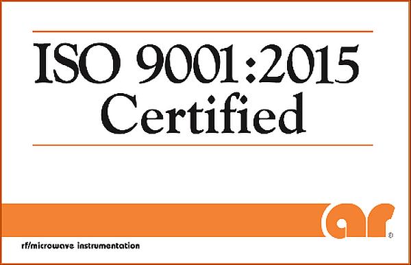 Certification ISO 9001:2015 de AR RF/Microwave Instrumentation.