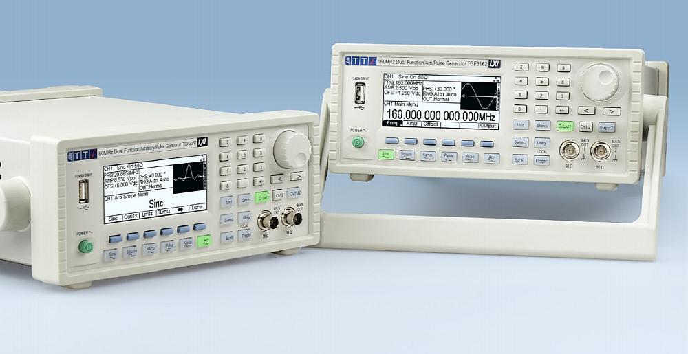 Les générateurs de fonctions et arbitraires TGF3000 de TTi dotés de 2 voies et une bande de fréquences de 80 et 160 MHz.
