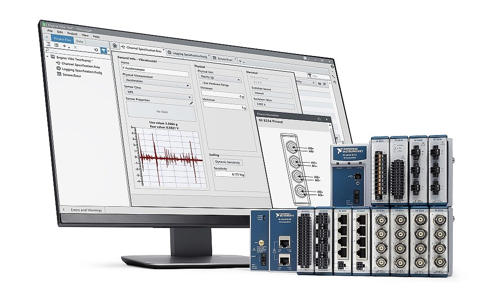 Logiciel d'enregistrement des données FlexLogger de National Instruments.