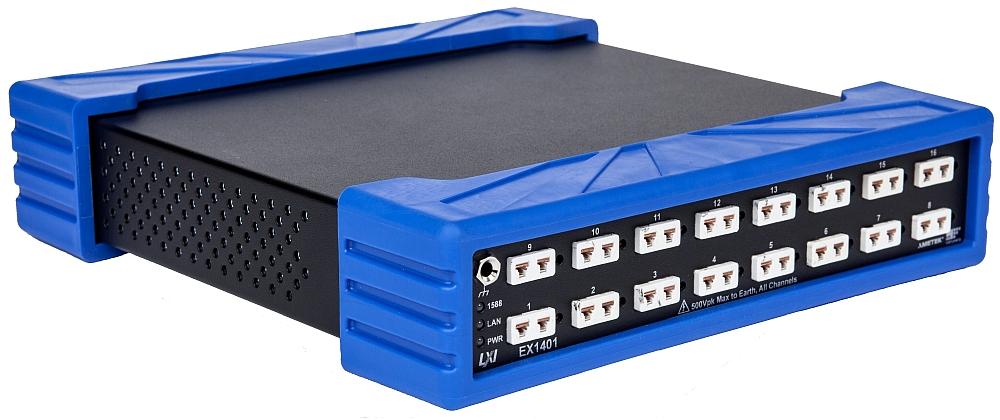 Module d'acquisition au format LXI de la gamme EX1401 de VTI Instruments est doté de 16 canaux pour tensions et températures.