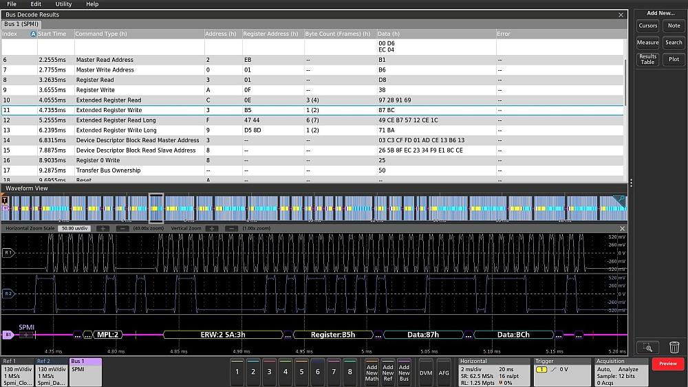 Décodage SPMI par les oscilloscopes MSO Séries 5 et 6 de Tektronix.