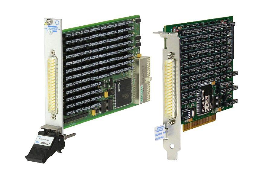 Modules de résistances programmables de précision aux formats PXI (série 40-298) et PCI (50-298) de Pickering Interfaces.