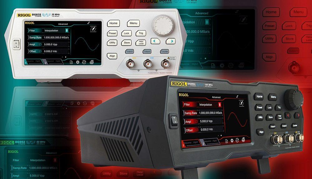 Générateurs de signaux arbitraires des séries DG800 et DG900 de Rigol Technologies.