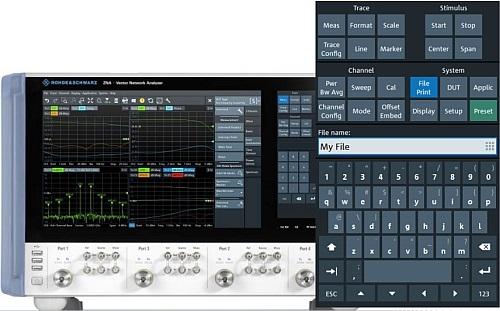 Interface utilisateur tactile de l'analyseur de réseaux vectoriels R&S ZNA de Rohde & Schwarz.