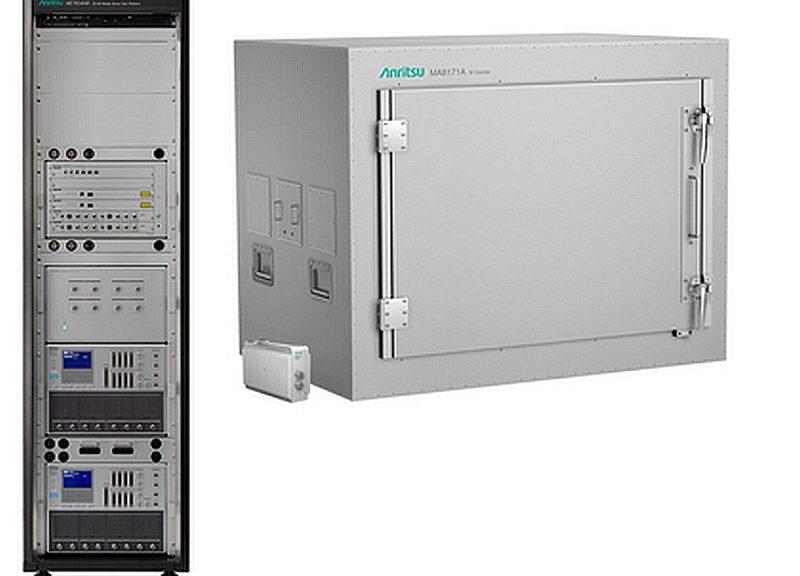 Système de test ME7834NR et la chambre de test OTA d'Anritsu.