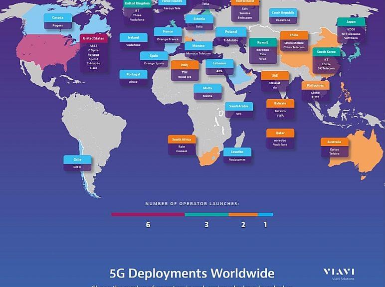 Déploiements 5G prévus dans le monde d'ici 2020 selon Viavi.