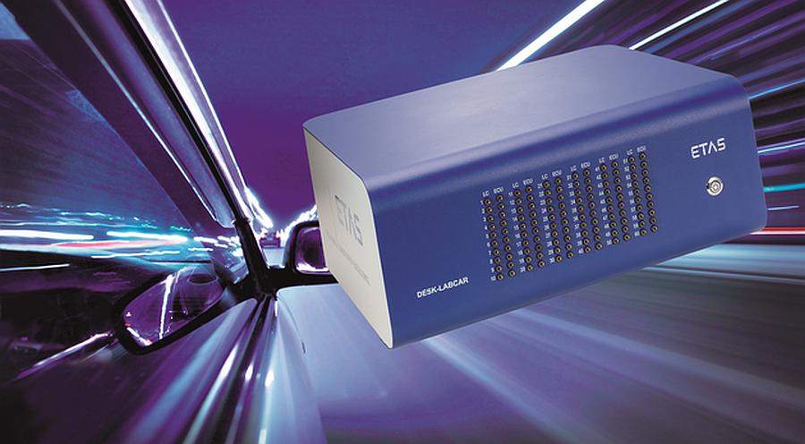 Système de test HIL (Hardware-in-the-Loop) compact DESK-LABCAR d'ETAS.