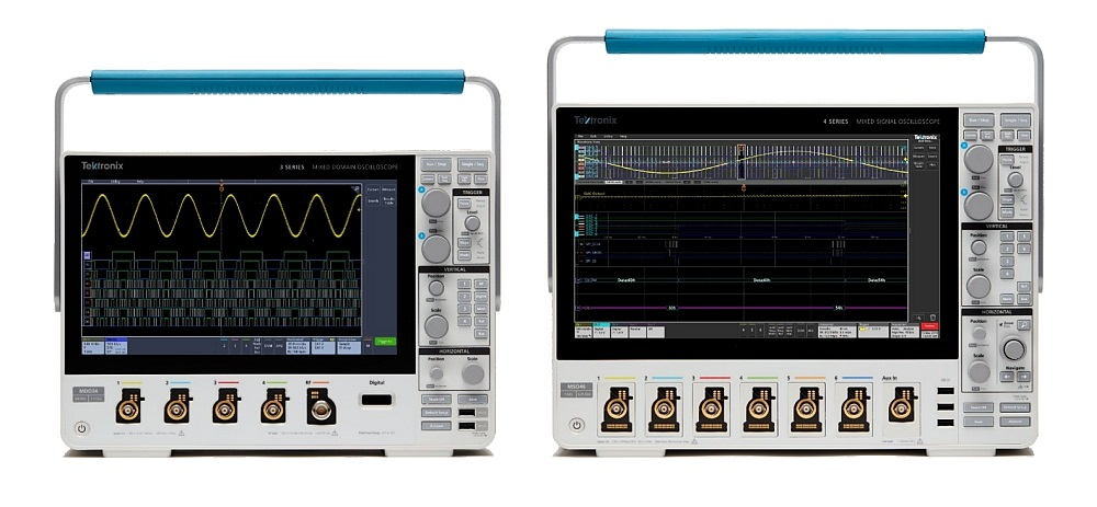 Oscilloscopes MDO Série 3 et MSO Série 4 de Tektronix.
