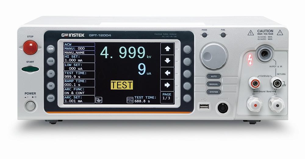 Analyseur de sécurité électrique GPT-12000 de GW Instek.
