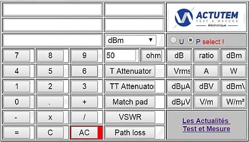 Calculateur convertisseur dB, dBm, W, VSWR, atténuateur, dBµA, dBV, dBµV