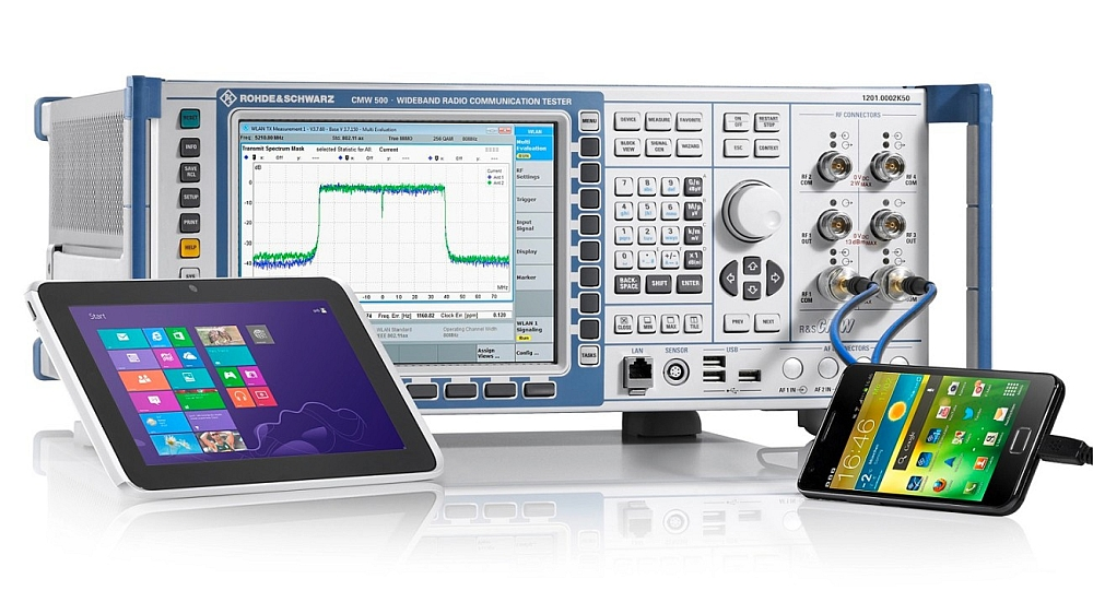 Testeur de communication sans fil de la gamme R&S CMW de Rohde & Schwarz.